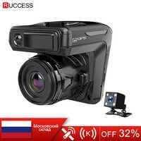 Nuevo 3 en 1 coche DVR Dash cam GPS 1296 P cámara de coche doble lente grabadora de vídeo Dashcam Auto registrador voz Rusia Anti Radar