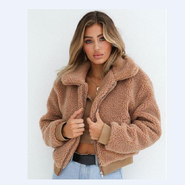 5bfce2ab4003 Kenancy Faux Lambswool Oversized Jacket Coat Women Fashion Fluffy Shaggy  Warm Winter Coats Zipper Casual Autumn Outwear Jackets