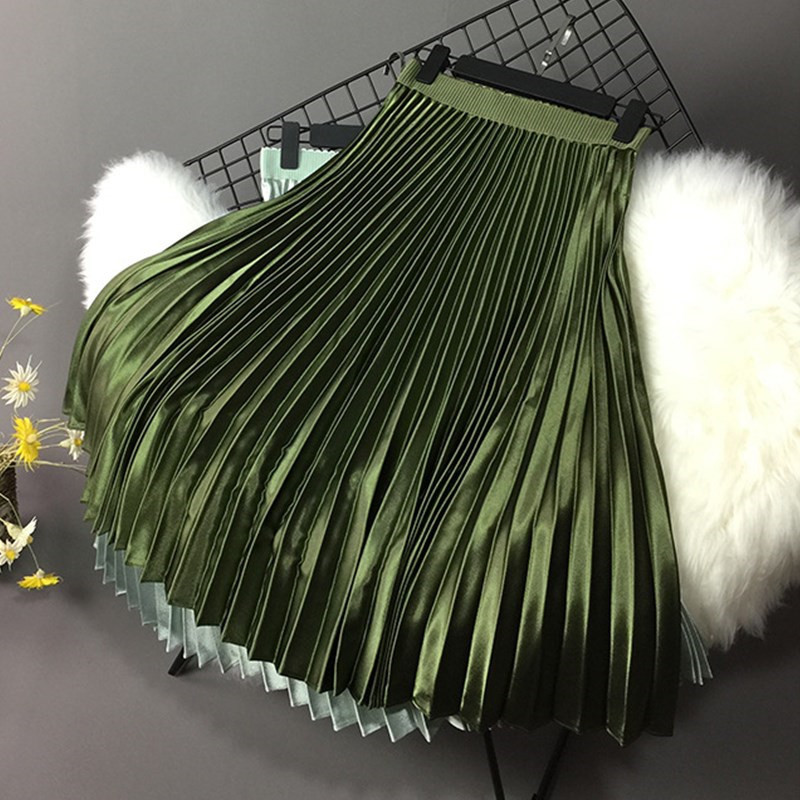 2019 Women Skirt Casual Autumn Winter Metallic Satin Pleated Skirt Female Vintage Mid Calf Black White Skirt Streetwear L