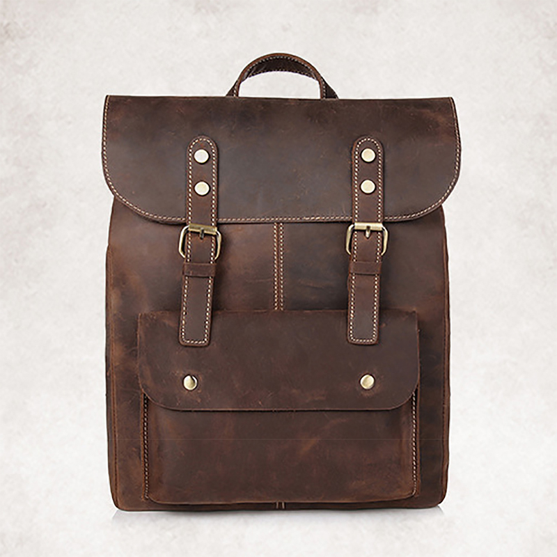 все цены на 100% Genuine Leather Rucksack First Layer Crazy Horse Cowhide Knapsack Male Computer Bag School Bags Daypack Men Backpack New