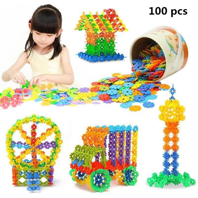 100 Pcs 3D Puzzle Jigsaw Plastic Snowflake Building Building Model Puzzle Educational Intelligence font b Toys