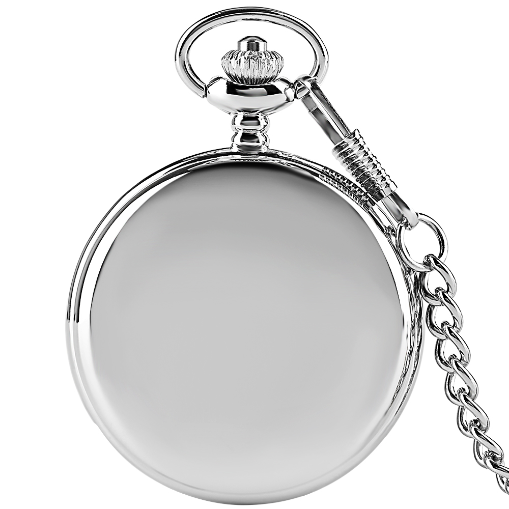 Fob Pocket Watch Smooth Charm Arabic Numbers Quartz Watches Chain Necklace Pendant Men Women Gifts Relogio De Bolso Silver Hot retro big pocket watches with fob chain running steam train antique style quartz watch pendant unisex gifts relogio de bolso