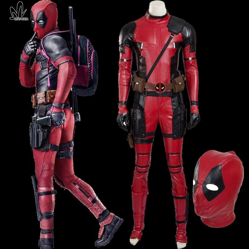 Xmen Wade Wilson RED Deadpool cosplay costume Halloween costumes men Superhero cosplay Deadpool jumpsuit leather Deadpool mask