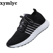купить Men's shoes breathable mesh surface hollow tide shoes low to help laceup casual shoes solid color round head cool flat sneakers дешево