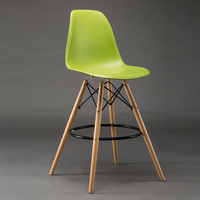Green Color Bar Chair Plastic Seat Wood Leg Household Villa Stool Free Shipping Wine Counter Furniture
