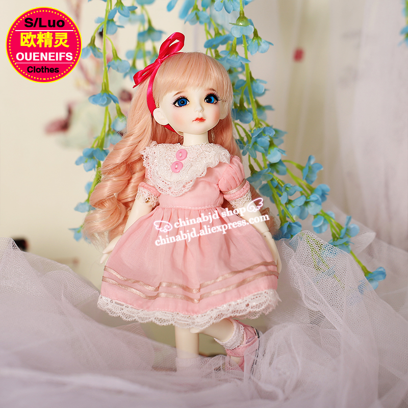 OUENEIFS free shipping pink Dress lace edge skirt ,customization 1/6 bjd sd baby clothes have not bjd sd doll or wig YF6 to 112 oueneifs free shipping new floral princess dress skirt lace edge 1 8 bjd sd doll clothes have not wig or doll yf8 106 page 9