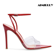 Women Open Toe Pointy High Heel Sandals Ankle Strap PVC Stiletto Summer Shoes Cool & Comfortable Red/Black/Nude Handmade aiweiyi black high heel sandals women shoes metal heel ankle strap sandals summer gladiator open toe stiletto sandals shoes
