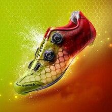 цена Santic Men Cycling Shoes Carbon Fiber Road Bike Shoes Cycling Breathable Mesh Upper Jelly Colors Triathlon Zapatillas Ciclismo онлайн в 2017 году