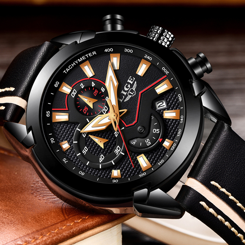 LIGE Mens Watches Top Brand Luxury Waterproof Fashion Quartz Watch Men Casual Leather Military Sports Watches Relogio Masculino weide top brand watches men quartz lcd digital fashion military casual sports watch luxury brand relogio outdoor wristwatches