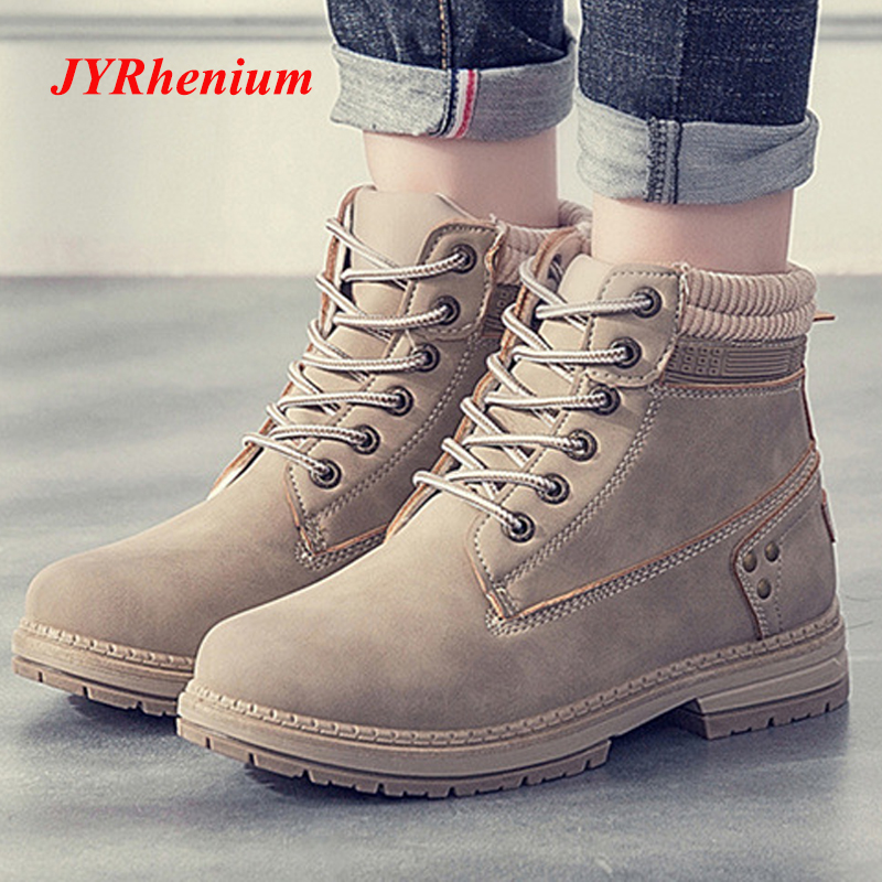 JYRhenium 2018 New Autumn Winter Plus Size 36-41 Women Boots Ankle Martin Boots High Quality Solid Leather Fashion Boots Black new 2017 autumn winter women genuine leather boots unisex martin boots motorcycle retro shoes high quality plus size 35 44