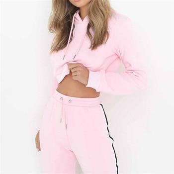 Pink Women's Tracksuits Sport Suits Sweatshirt and Pants 2 Pcs Set Women Gym Fitness cappa Jogging Suits Ladies Clothing 2018