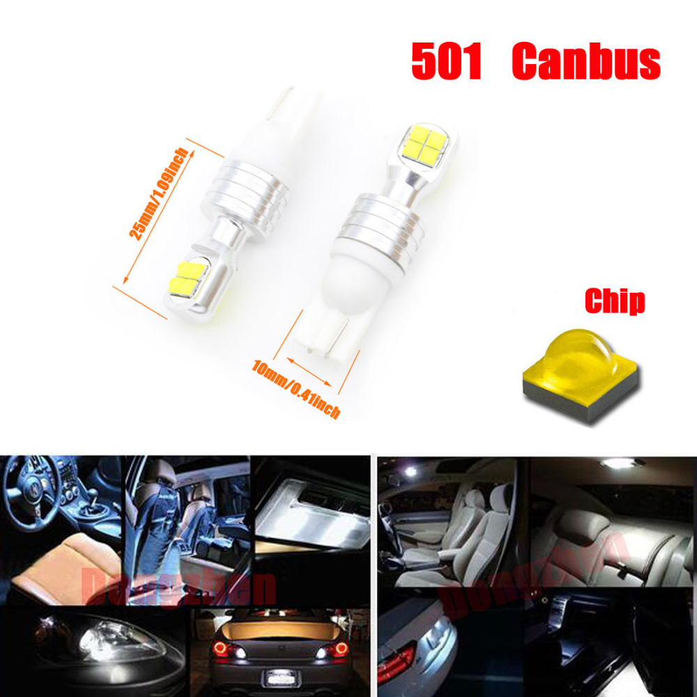 Dongzhen 2X 12V-24V Canbus Error Free LED T10 W5W 501 80W DRL Daytime Running Light License Plate Light Bulb Lamp Auto White 2pcs 12v 31mm 36mm 39mm 41mm canbus led auto festoon light error free interior doom lamp car styling for volvo bmw audi benz
