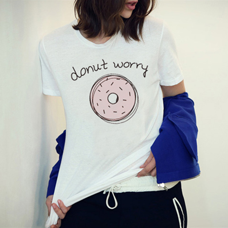 F1762 2016 Newest Fashion Summer Women Tshirt   White Tops The Pink Donut Worry Printed Short Sleeve Harajuku Tees Tops