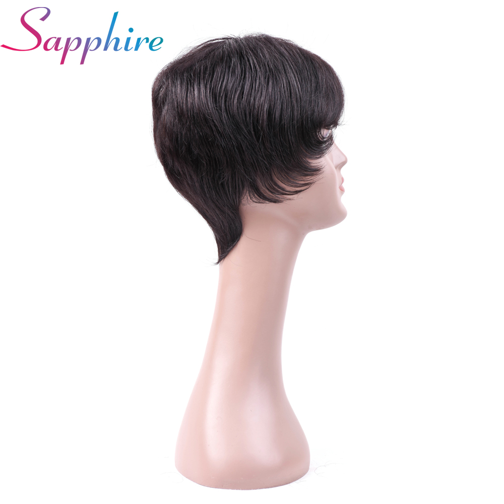SAPPHIRE Short Cut Bob Wigs Natural Black for For Africa Americans Women Malaysia Machine Made Wig with Bang Free Shipping