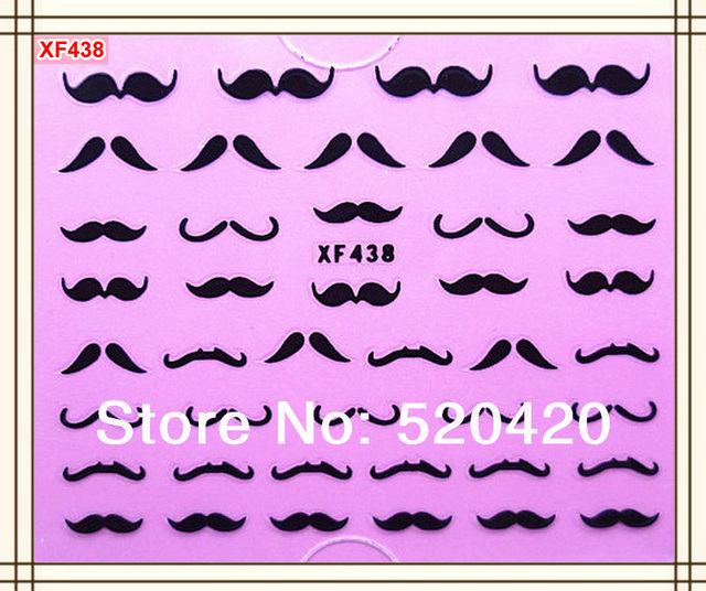 Free Shipping 30 packs/lot The Most Fashion Moustache Styles Water Transfers Stickers Decals Nail Stickers (Mixed Designs OK)