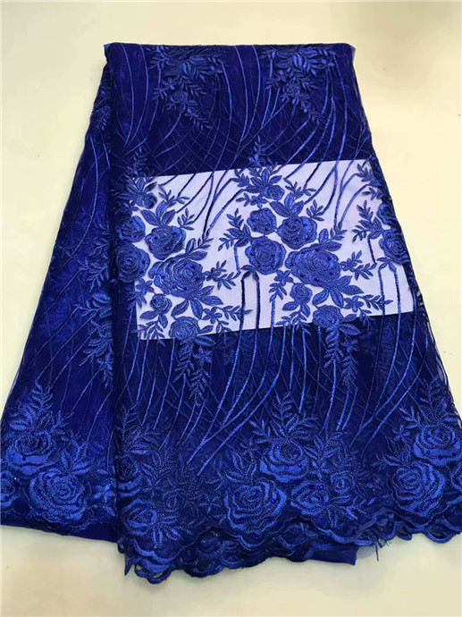 Nigerian Royal Blue beads Net Lace African Guipure Lace Fabric Latest French Swiss Voile Laces 2018 Women Wedding Dress Fabric
