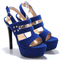ARMOIRE New Summer Sexy Women Platform Sandals Blue Black Red Ladies Party Shoes Super High Heels AWY211 Plus Big Size 34 43