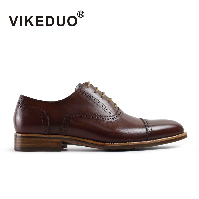 VIKEDUO vintage retro Mens Oxford Shoes 100% genuine leather luxury party wedding dress Shoes hand painted Lace-Up unqiue design цены онлайн