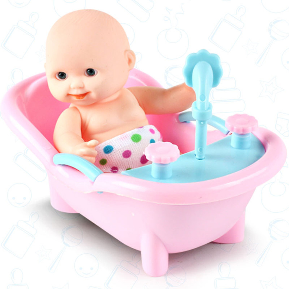 Baby Simulation Blink Doll Toy Cute Boy Girl Reborn Baby Doll Toys Lovely Soft Emulated Doll With Cradle drop shipping 30S628