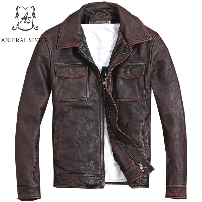 Plus Size genuine Top cow leather jacket men bomber jacket reddish brown Distress Vintage pocket S 5XL coat Motorcycle clothing|Genuine Leather Coats| |  - title=