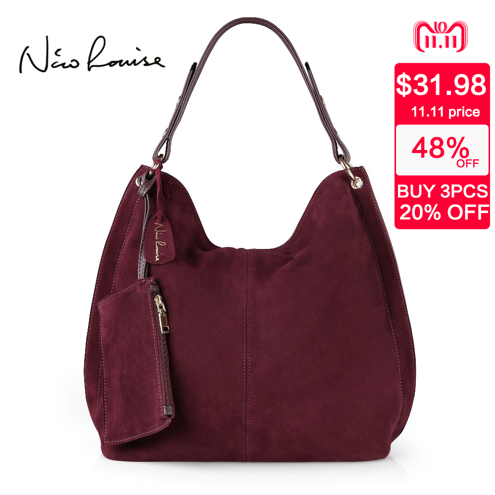 Nico Louise Women Real Split Suede Leather Hobo Bag Design Female Leisure Large Shoulder Bags With Wallet Travel Casual Handbag nico louise women real split suede leather bucket bag lady leisure nubuck casual shoulder bags large hobo travelling handbag sac