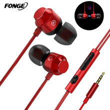 Fonge Stereo Wire Earphone Headphones With Microphone Volume Control Earbuds Bass Headset for Phones Iphone Xiaomi ear phone цены онлайн