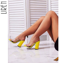 Liren Fashion Women Sandals PVC Snake Print Shoes Sexy Transparent Peep Open Toe High Heels Square Heel Size 35-40 ladies transparent square high heel sandals sexy peep toe mesh ankle boots summer high heels sandals women size 34 40