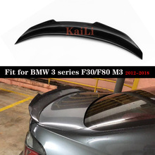 цена на Real Carbon Fiber Spoiler Wing for BMW 3 Series F30 F80 M3 CF Rear Trunk Spoiler Boot Tail Lip