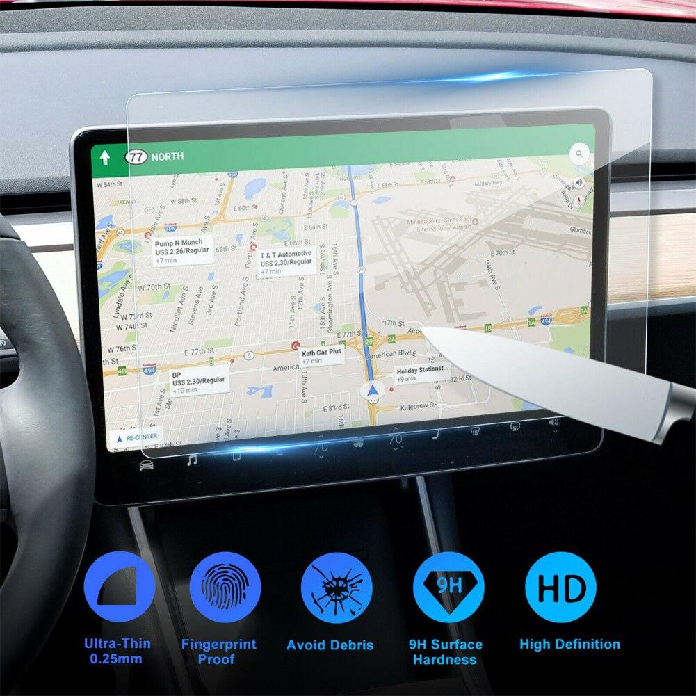 1 قطعة 15 بوصة تسلا نموذج 3 سيارة واقي للشاشة واضح الزجاج المقسى واقي للشاشة لملحقات حماية الملاحة