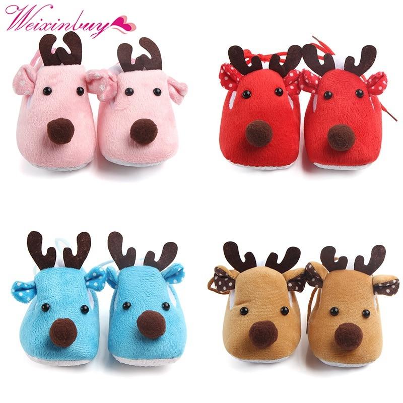 Baby Christmas Deer Shoes Cute Warm Winter Toddlers Shoes Sweet Anti skid Baby Girls Infant Prewalker Toddler