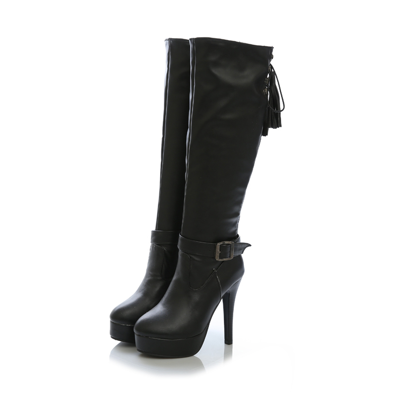 Sales New Hot Sales Black White Knee Thigh High Women Nude Boots Ladies Shoes Super High Heels AS88-1B Plus Big Size 10 43 brand new hot sales women nude ankle boots red black buckle ladies riding spike shoes high heels emb08 plus big size 32 45 11
