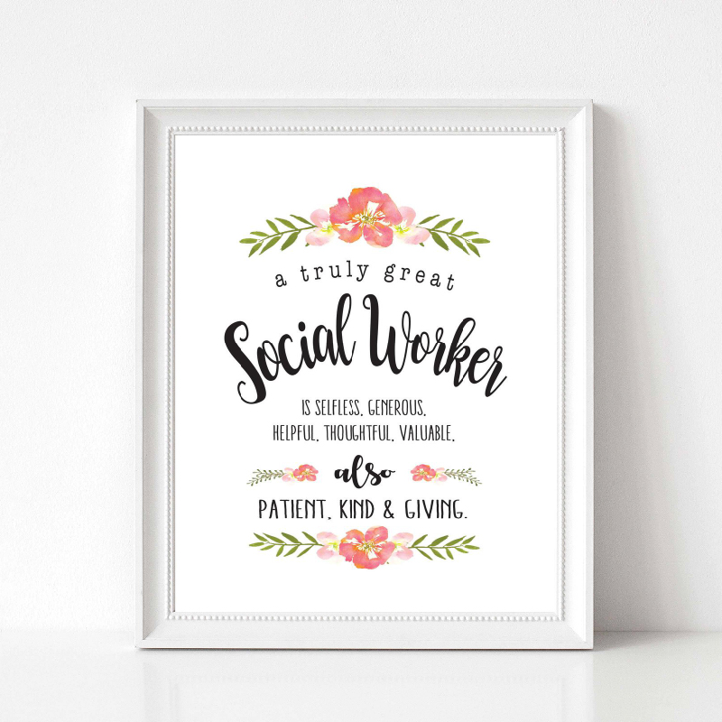 Social Worker Gift Painting Wall Picture A Truly Great Social Worker Quotes Art Canvas Print Poster Office Wall Art Decor image