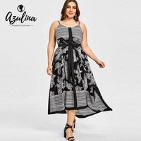 AZULINA Bohemian Plus Size Striped Floral Print Slip Dress Women Boho Summer Sleeveless Casual Beach Dress
