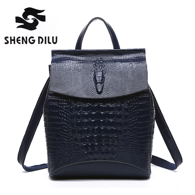 fashion Alligator shengdilu brand 100% genuine leather Backpack Cow mochila 2018 new women school bag free shipping