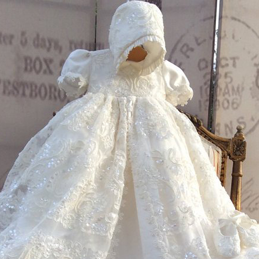 Gorgeous Baptism Ivory Baby Clothing Dress Long Lace First