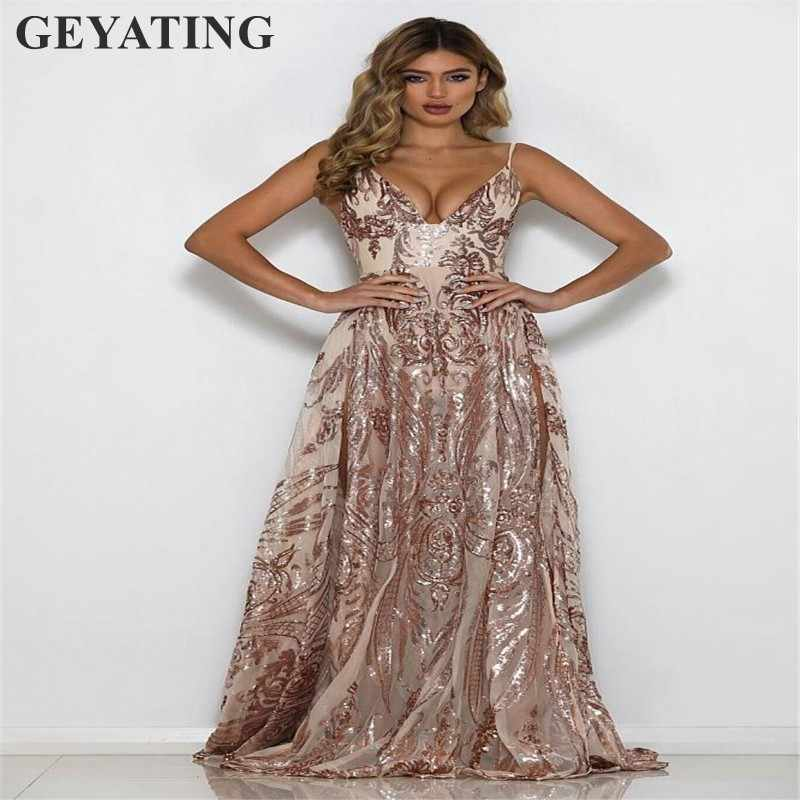 2562c275b93 ... Sexy V-Neck High Slits Backless Prom Dresses 2019 Long Spaghetti Straps  Rose Gold Sequined ...