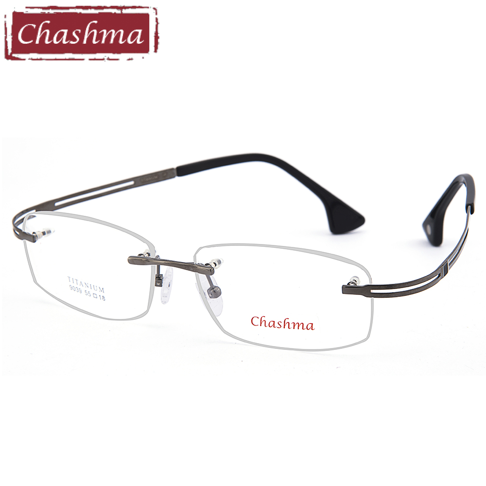 Chashma Top Quality Eye Glasses Rimless Titanium Light Optical Glasses Frame Men Big Face Wide Myopia Eyewear Frames