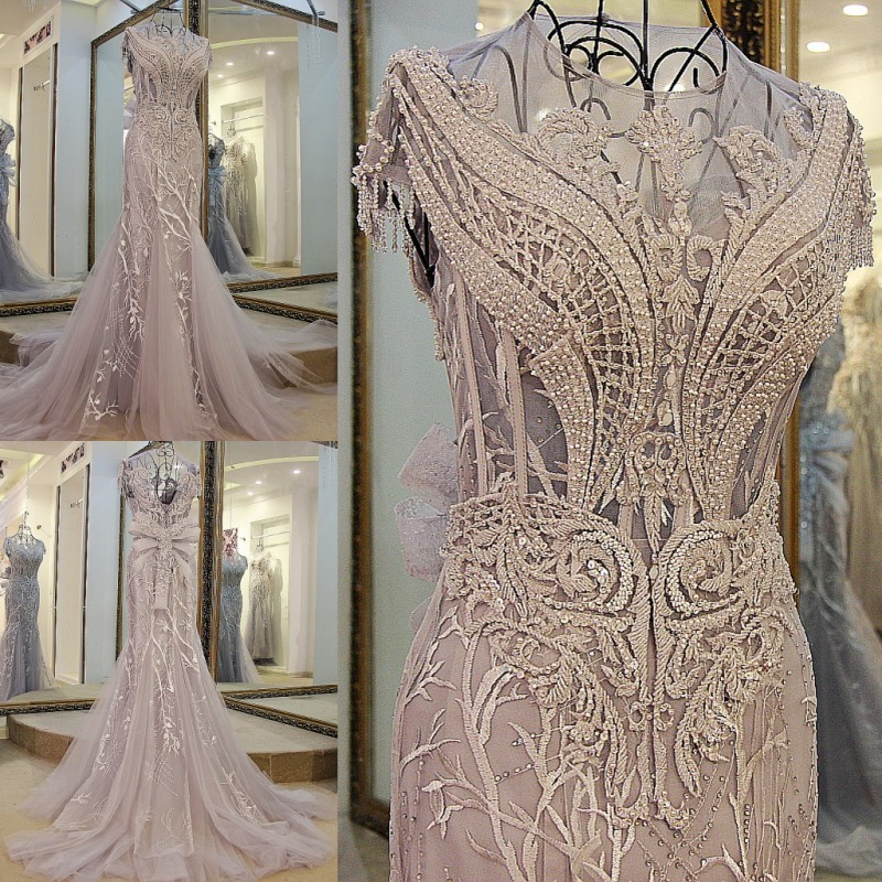 2017 tulle light grey luxury crystals Tassels cap sleeves sexy beaded illusion neckline design mermaid   evening     dress   xj01980