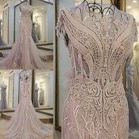 2017 tulle light grey luxury crystals Tassels cap sleeves sexy beaded illusion neckline design mermaid evening dress xj01980