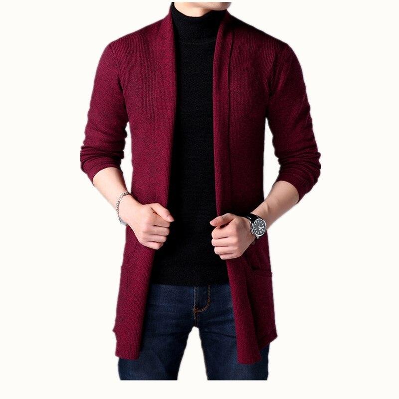 2019 nova primavera dos homens da juventude camisola assentamento camisa de cor sólida, -coreano de mangas compridas camisa magro dos homens casaco cardigan camisola longa