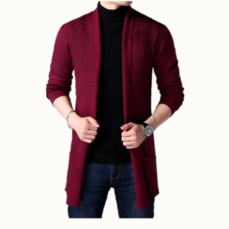 2019 Spring New Youth Men's Sweater Solid Color Bottoming Shirt, Korean Long-sleeved Shirt Men's Slim Long Cardigan Sweater Coat
