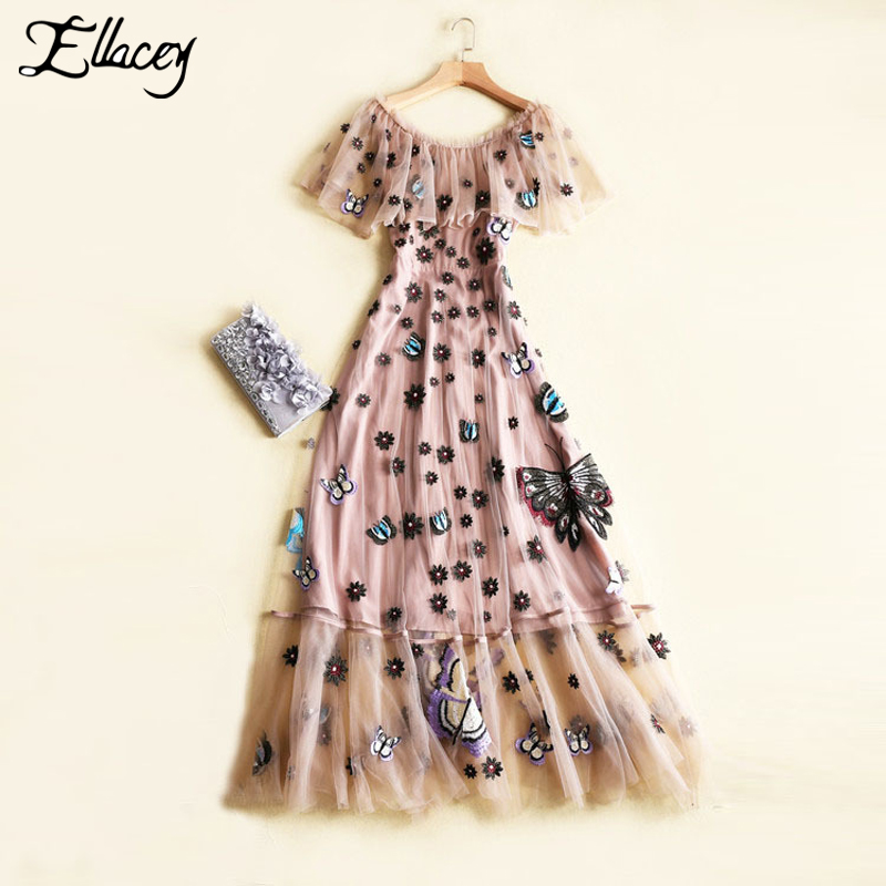Buy Cheap New 2017 Tropical Mesh Cute Summer Dress Butterfly Embroidery Floral Long Dresses Women Embroidery Ruffles Party Maxi Dress