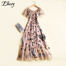 New 2017 Tropical Mesh Cute Summer Dress Butterfly Embroidery Floral Long Dresses Women Embroidery Ruffles Party Maxi Dress