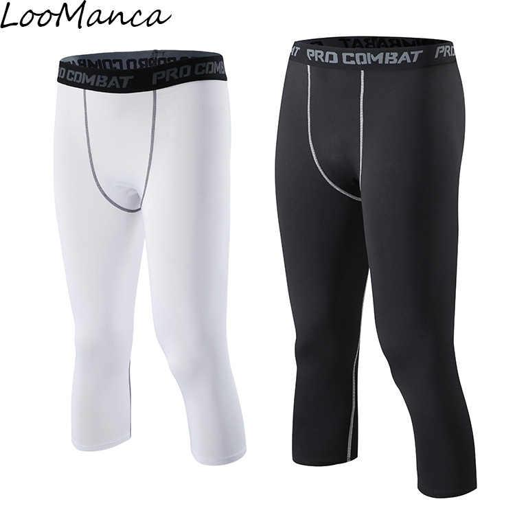 Compresión de baloncesto medias pantalones Nuevo 2018 fútbol deportes  Pantalones negro blanco rápido seco hombres Fitness 2bd636574f5a