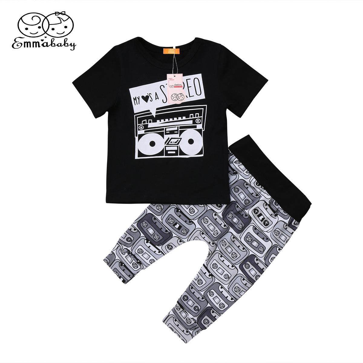 2018 new arrival fashion babies print outfit set Newborn Kids Infant Boy Girl short sleeve T-shirt Pants Leggings Outfit Clothes