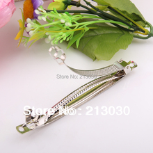 2014 new  DIY hairgrips clips 10CM three plates findings white stainless steal pinch cock Hair charms accessory 100pcs/lots