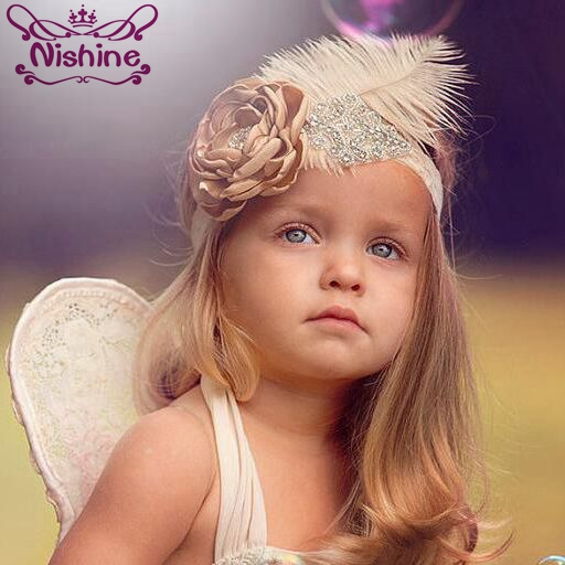 Nishine Girls Rhinestone Flower Headband Elastic Lace Hair Bands Feather Fabric Flower Party Kids   Headwear   Photography Props