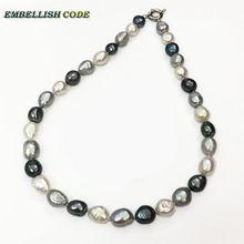 Lacrima graceful goccia semi barocco irregolare perla della collana del choker bianco grigio nero blu Pavone colore Misto perle d'acqua dolce