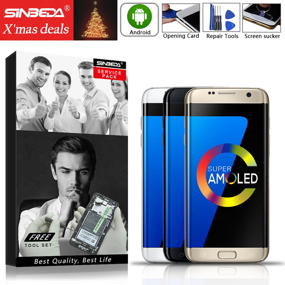 5.5Sinbeda AMOLED For SAMSUNG Galaxy S7 Edge Display with Frame G935F For SAMSUNG S7 Edge LCD Screen SM G935F G935 LCD Original