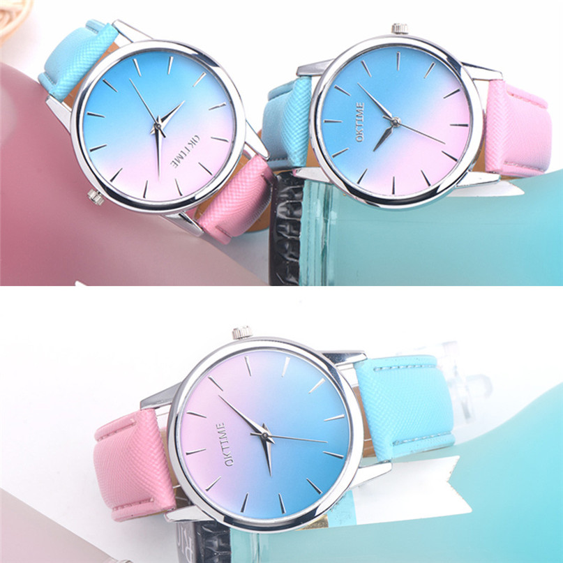 Fashion Women Retro Rainbow Design Leather Band Analog Alloy Quartz Wrist Watch High Qulity Hot Sale Montre Femme Vintage M3